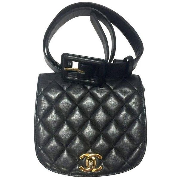 Preowned Vintage Chanel Black Lamb Leather Oval Flap Waist Purse,... (4,060 SAR) ❤ liked on Polyvore featuring bags, belt bags, black, vintage bags, chanel, chanel bags, waist bag and hardware bag
