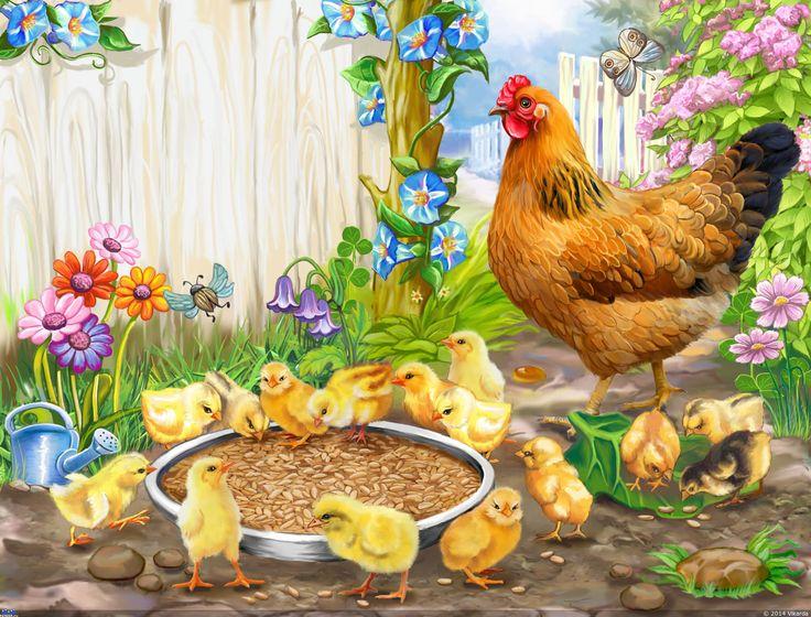 Виктория Богонос. Цыплята у кормушки — Компьютерная графика и анимация — Render.ru