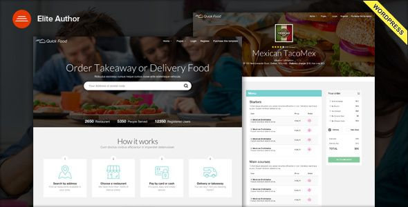 QuickFood - Delivery or Takeaway Food WordPress Theme by vergatheme QuickFood is an WordPress Theme for Delivery or Takeaway Restaurants. It?s a growing industry!!.It based on Bootstrap 3 and it com