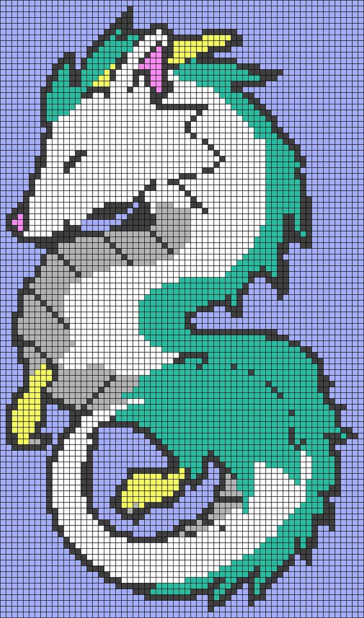 Haku Dragon Spirited Away Perler Bead Pattern