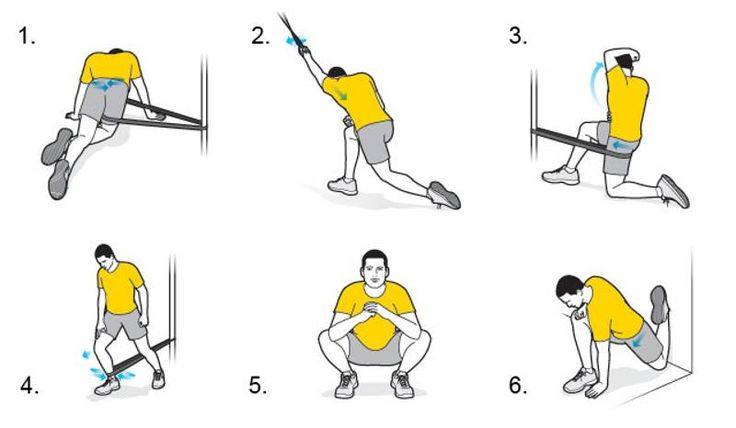 6 Exercises for Maximum Mobility  1. Posterior hip mobilization  2. Shoulder extension, external rotation  3. Anterior hip mobilization  4. Ankle dorsiflexion  5. 10-minute deep-squat test  6. Couch stretch