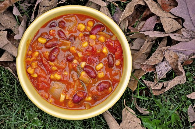 Smoked Pumpkin Chili - my adapted partial list: kidney beans, corn,can of diced tomatoes, can of pumpkin puree, veg broth or beer, smoked paprika, (sage);  by Omadsa, via Flickr