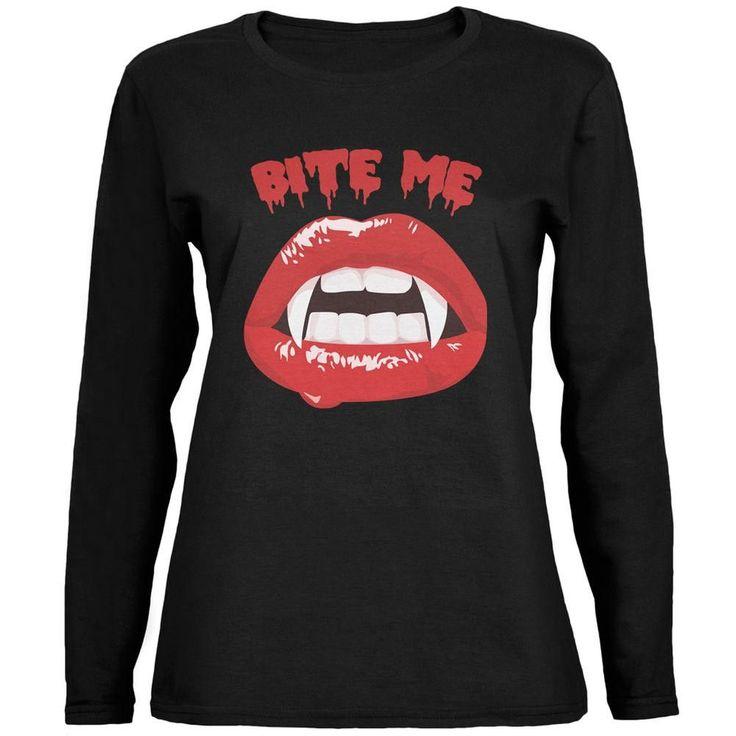 Halloween Vampire Bite Me Black Womens Long Sleeve T-Shirt