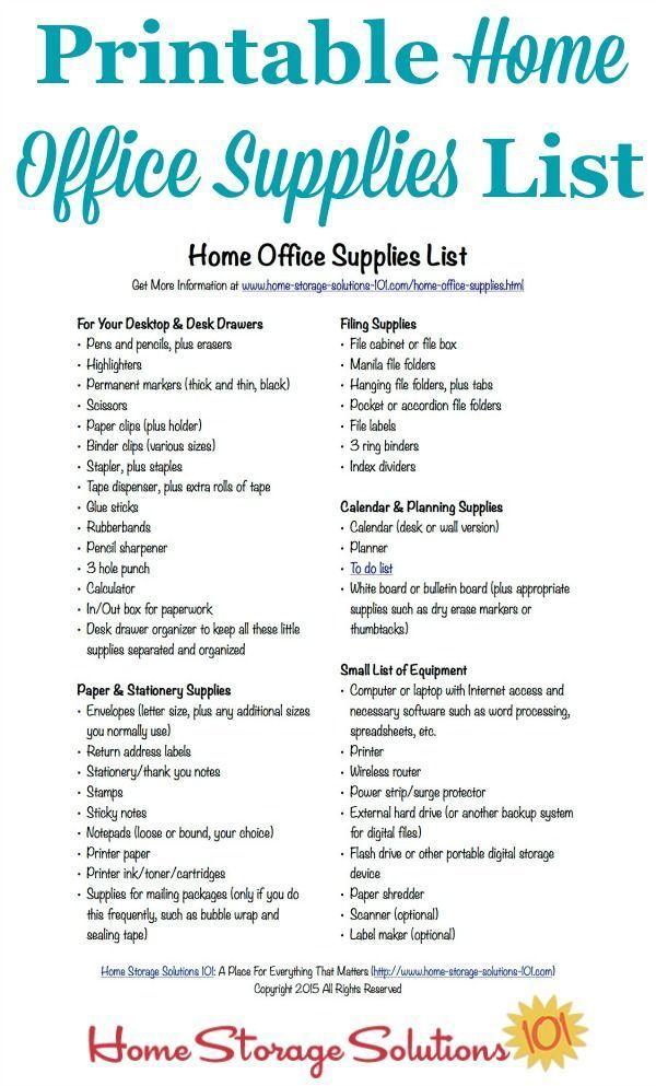 Free Printable Home Office Supplies List Office Supplies List Office Supplies Checklist Home Office Storage