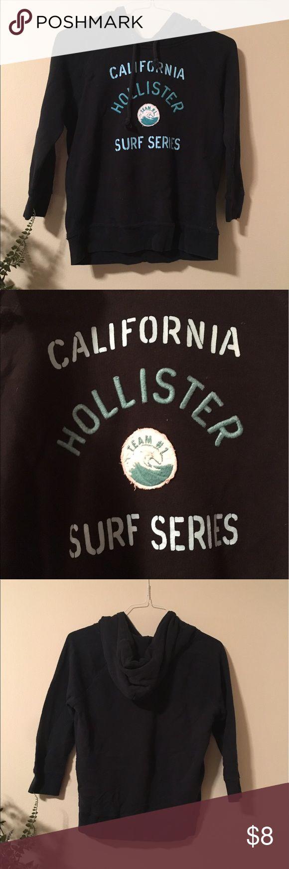 HOLLISTER SURF HOODIE- NAVY Navy and light blue hollister lightweight hoodie. 3 quarter sleeve Hollister Tops Sweatshirts & Hoodies