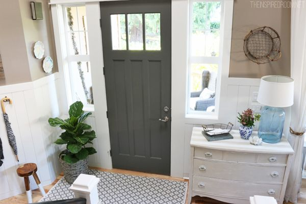 Entry with Charcoal Gray Front Door - The Inspired Room  Incorporate sidelights into white trim.