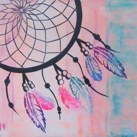 Stoer schilderij voor op de tienerkamer van een dromenvanger. Het schilderij is handgeschilderd met acrylverf en bewerkt met graffiti.