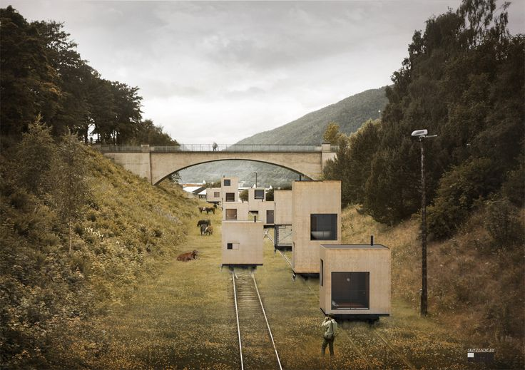 Rolling Master Plan. existing and new rail roads would provide the base for a host of new buildings that could be rolled back and forth depending on seasons and situations.: Train Tracks, Master Plan, Building, Rolling Hotel, Architecture, Mobile