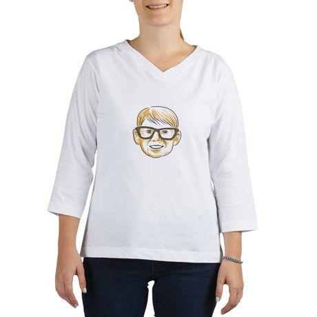 Caucasian Boy Glasses Head Smiling Drawing T-Shirt