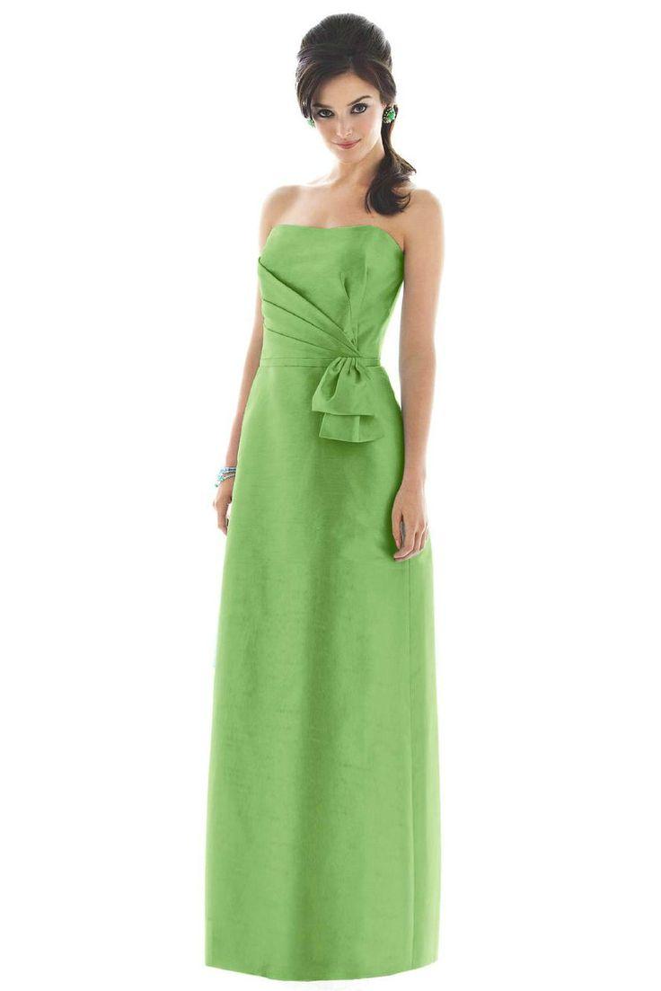 Strapless-Modest-Green-Bridesmaid-Dress