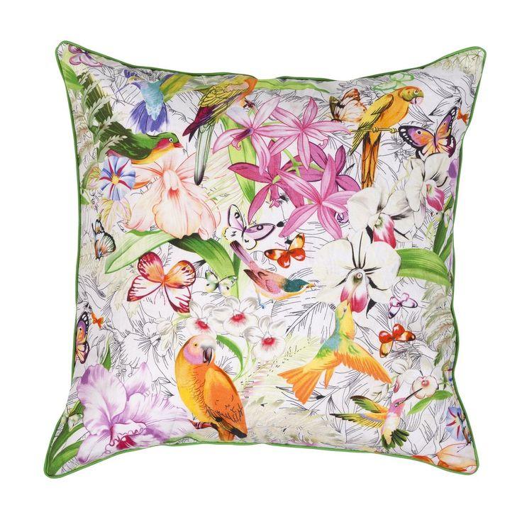 Kuka voisi vastustaa LINTU-koristetyynyä? Kaveriksi lakanat samaa sarjaa. #lennol #spring #bird #flower #cushion