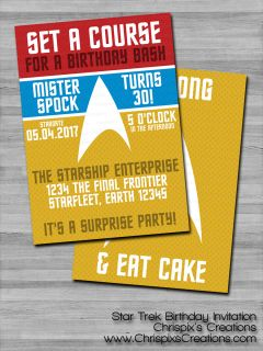 Star Trek Birthday Invitation #birthday #invitation #invite #personalized #custom #geeky #geek #nerd #nerdy #fan #trekie #StarTrek #Spock #LiveLongAndProsper #adult #ChrispixsCreations
