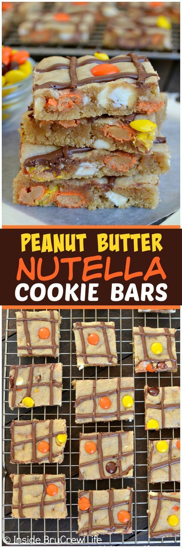 Peanut Butter Nutella Cookie Bars - these easy bar cookies are loaded with white chocolate, Reese's pieces, and Nutella drizzles. Great recipe when you want cookies in a hurry!