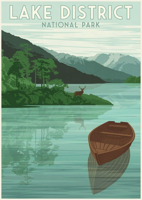 Lake District National Park Poster Original Uk National Park Poster Featuring The Famo In 2020 Lake District National Park National Park Posters Retro Travel Poster