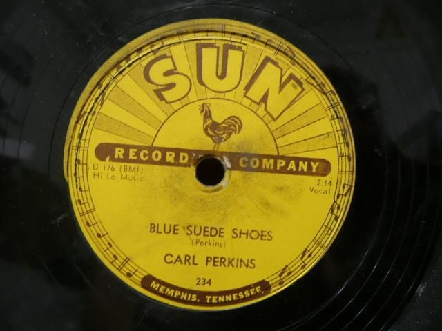 CARL PERKINS 78 RPM SUN 234 BLUE SUEDE SHOES ORG USA på Tradera.