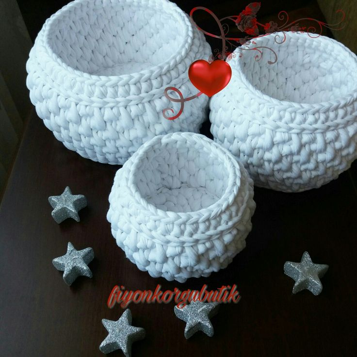 White crochet baskets