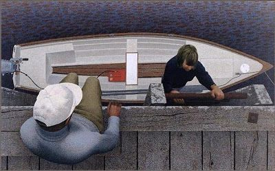 Paintings by Canadian Artist Alex Colville: Embarkation.