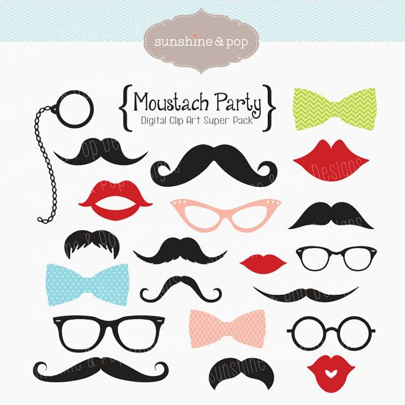 Moustache Party Digital Clip Art Super Pack for scrapbooking, cards, stationary, invitations, and all paper crafts. $5.99, via Etsy.