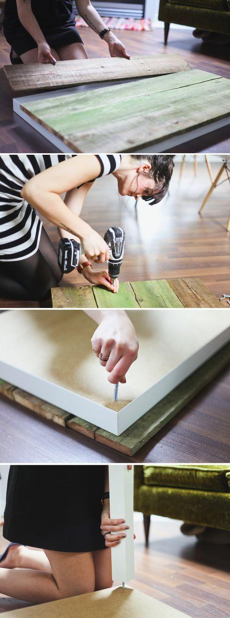 Facile cette idée pour transformer votre table de salon Ikea en une belle table rustic-chic! DIY Lack Coffee Table Hack