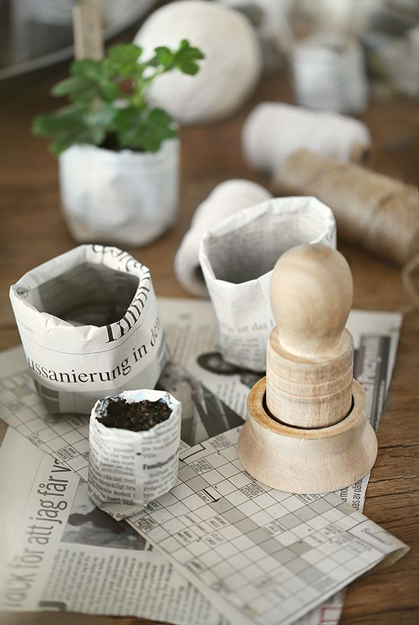 DIY paper pots more info on the swedish blog trendenser.se