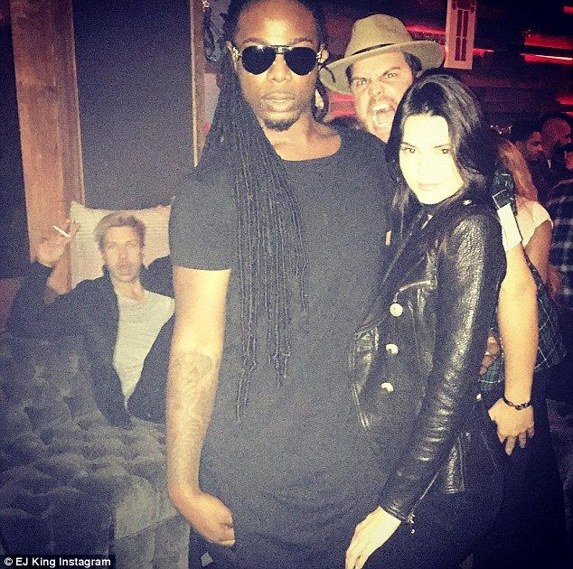 Chilly: Kendall Jenner, seen with actor EJ King, reportedly rolled her eyes when Scott Disick arrived at Chris Brown's party with an entourage on Tuesday