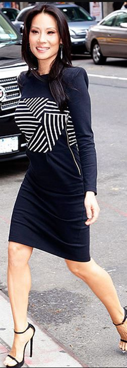White stripe long sleeve dress