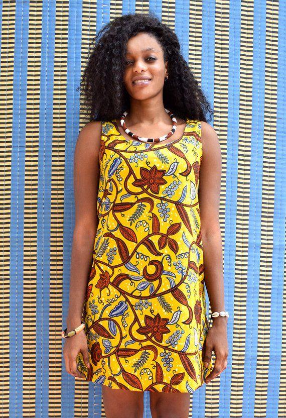 97050fcbec336 African dress with hibiscus flowers, a sleeveless short summer dress ...