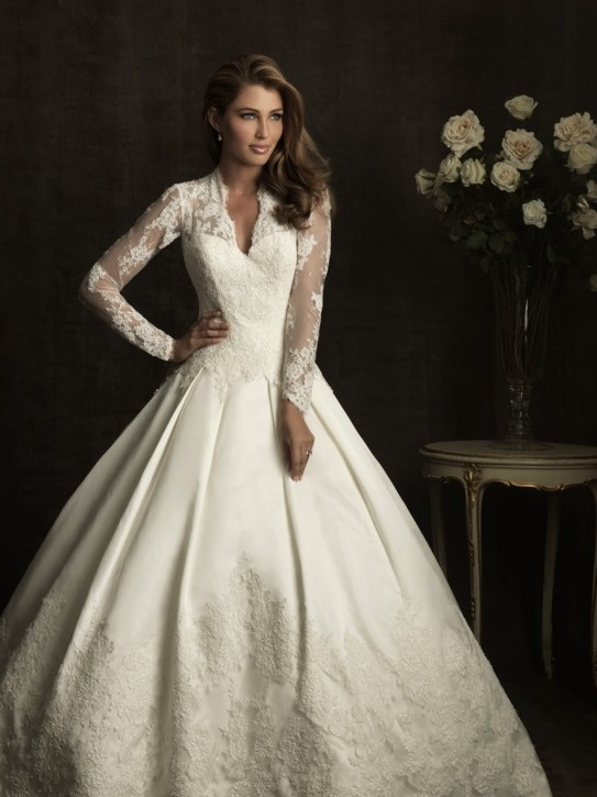 Allure Bridal Ivory Satin Taffeta Lace Illusion Long Sleeve Wedding Gown I Absolutely Love This Dress