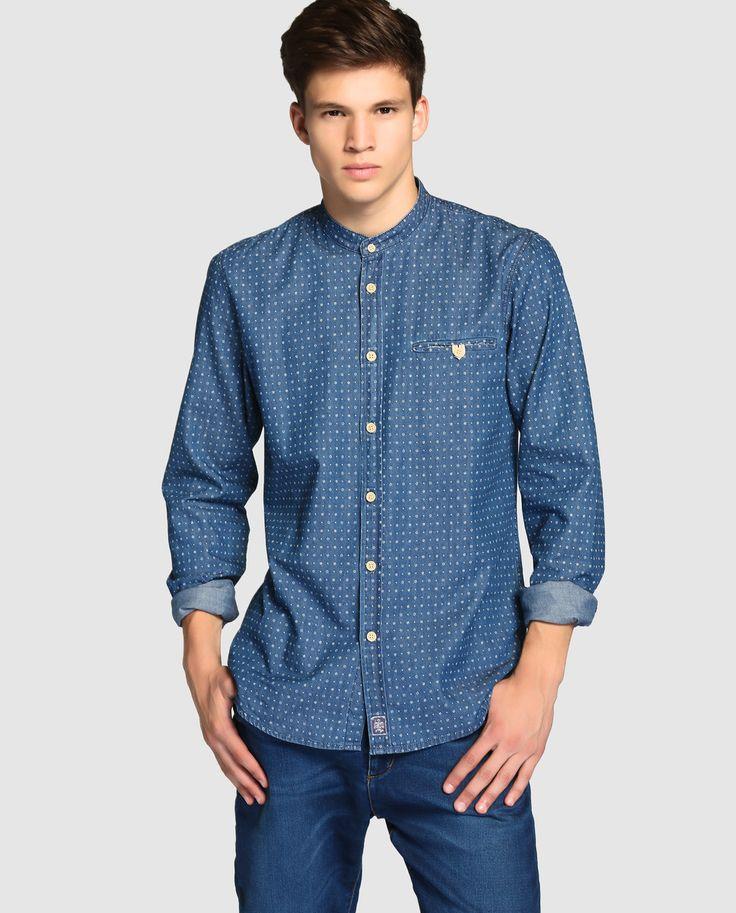 Camisa vaquera de hombre Easy Wear estampada azul