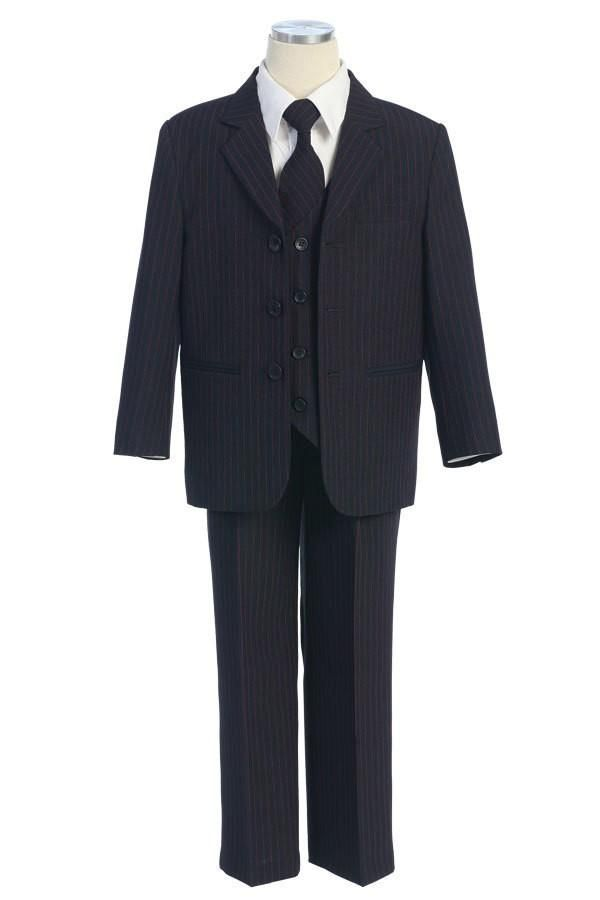 5bff744f4 Boys  Navy Blue Suit with Red Pin Stripes