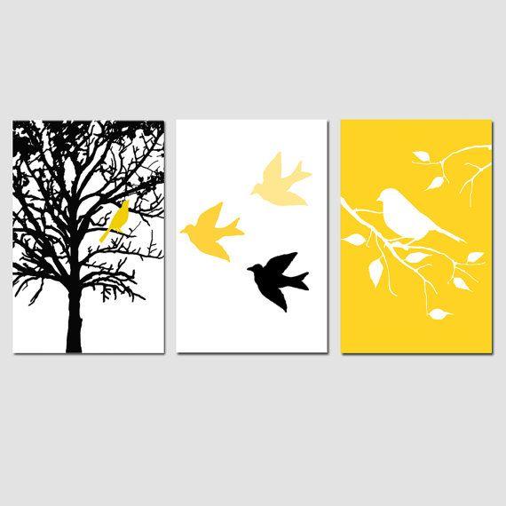 Modern Bird Tree Nursery Art Wall Decor Trio  Set of by Tessyla, $69.50