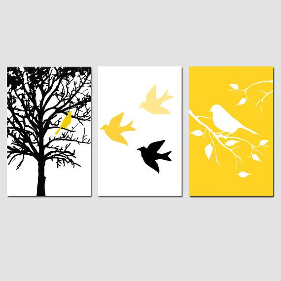 Modern Bird Tree Nursery Art Wall Decor Trio Set of by Tessyla, $69.50