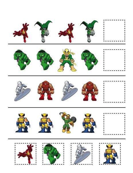 superheroes worksheets pattern funnycrafts Preschool Superhero