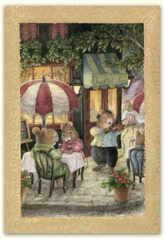 Susan Wheeler Holly Pond Hill Mouse Mice Cafe Violin Anniversary Greeting Card | eBay