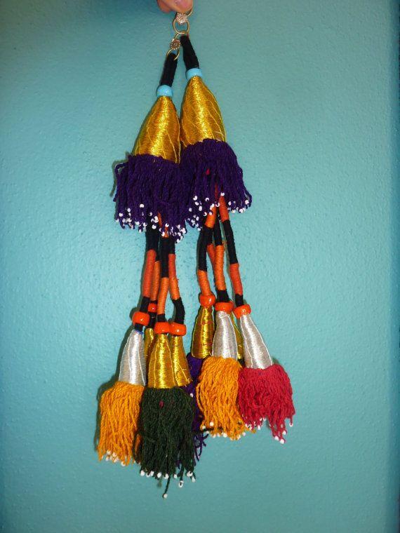 Tribal-Quasten Tashquorgani Tassel 1 Paar goldene von neemaheTribal
