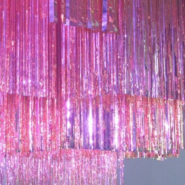 Pink motherfucking sparkle fringe ceiling!!!!!!!