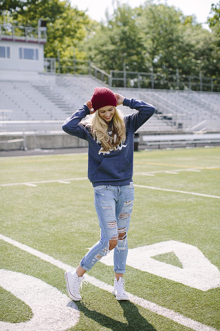 Friday night football game outfit inspiration.  Hoodie, beanie and jean outfit inspiration.