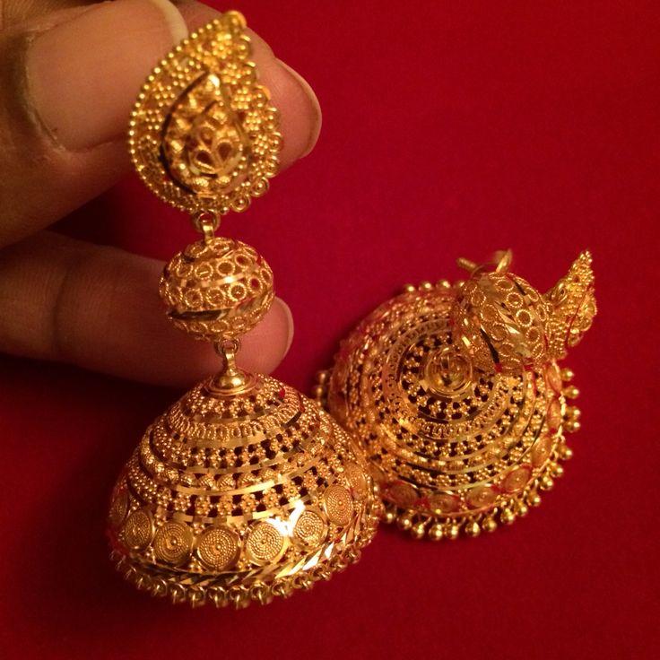 Gold jhumkas #Indian #Jewellery