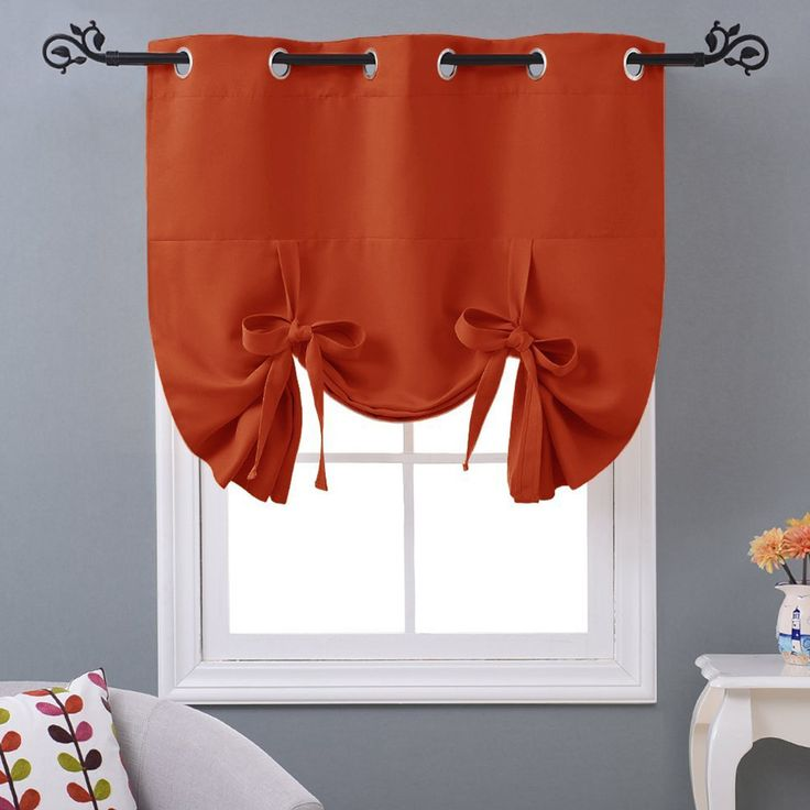 Thermal Drapes Curtains Tie Up Insulated Shades Kitchen Short Blackout Grommet - Curtains, Drapes & Valances