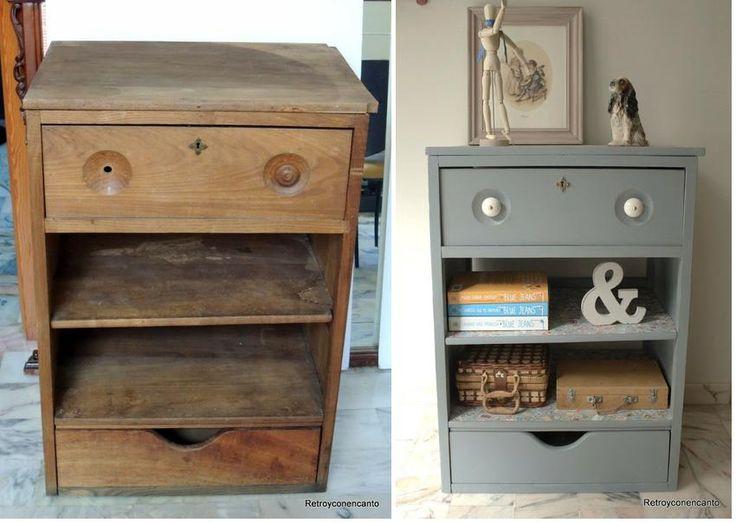 Un papel de sellos ha sido el escogido para la decoración de este mueble, ¡y ha quedado genial! ¡No os perdáis este antes y después!