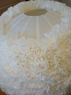 Paper lantern decorated with coffee filters creates a romantic, almost floral look and soft light - perfect for any party or to spruce up a room