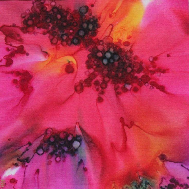 Magenta Daze, silk painting, Helen Mortimer