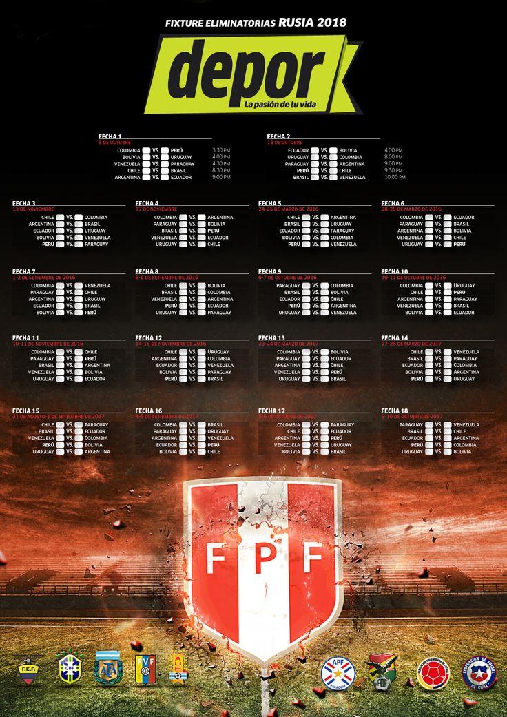 Selección Peruana: descarga el fixture de las Eliminatorias Rusia 2018 | Depor.pe