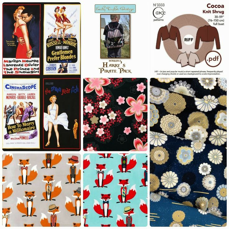 New in Store - 16th March Marilyn Monroe Movie Poster Fabric panel, Satsuki and Fox and Houndstooth by Robert Kaufman. Cocoa Knit Shrug by Cake Patterns. www.voodoorabbit.com.au