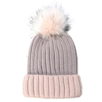 Rib Knit Beanie with Cuff Faux Fur Pom Pom Hat