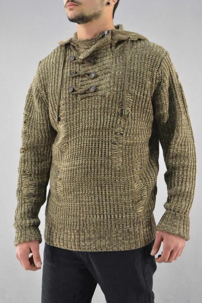 Ανδρικό πλεκτό πουλόβερ  PLEK-2719-be Πλεκτά - Πλεκτά και ζακέτες - Άνδρας