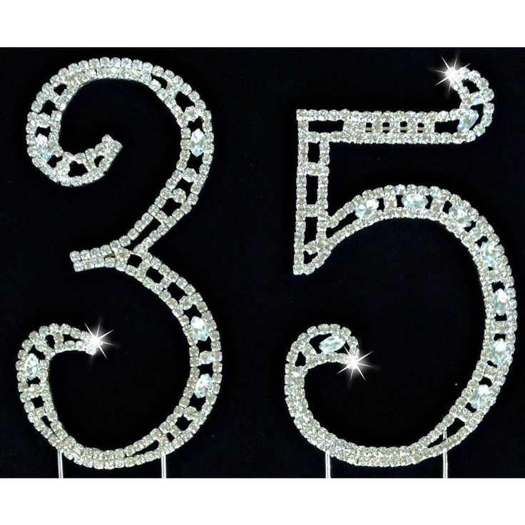 This Cake Topper that will add an unique look to your 35th birthday,wedding or anniversary cake or centerpiece Great rhinestone numbers with dazzling rhinestone crystals . You will get two large rhine