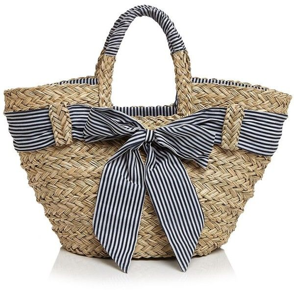 Filippo Catarzi Striped Bow Straw Tote (€63) ❤ liked on Polyvore featuring bags, handbags, tote bags, purses, straw handbags, stripe tote, handbags totes, striped tote bag and tote hand bags