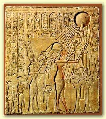 Pharaoh Akhenaten and his family adoring the Aten.