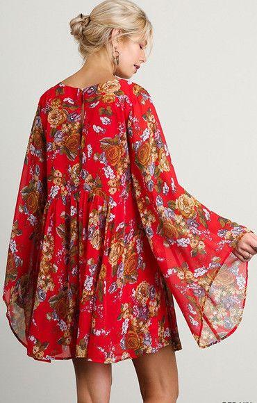 Vienna Red Floral Dress